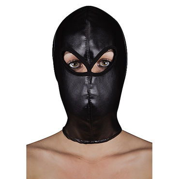 Ouch! Extreme Leather Hood with Ribon Ties Кожаная БДСМ-маска
