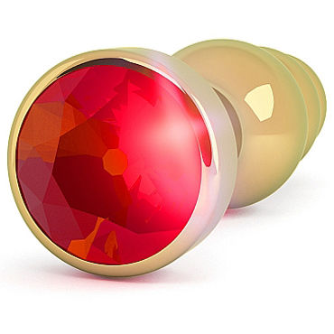 Shots Toys R7 Gold Plug Red Sapphire Анальная пробка с кристаллом