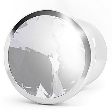 Shots Toys R1 Silver Plug Clear Sapphire Анальная пробка с кристаллом
