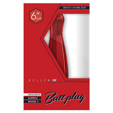 Shots Toys Bottom Line Buttplug Acrylic Model 3, 15 см красная Анальная пробка
