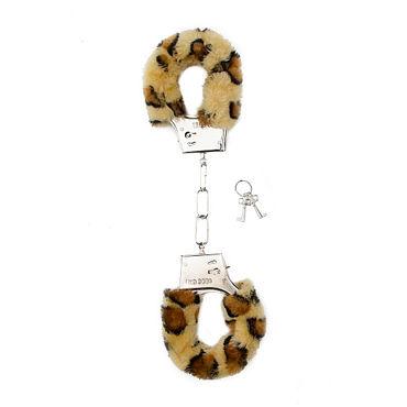 Shots Toys Furry Handcuffs Cheetah Металлические наручники с меховыми чехлами