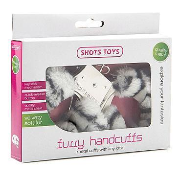 Shots Toys Furry Handcuffs Zebra Металлические наручники с меховыми чехлами