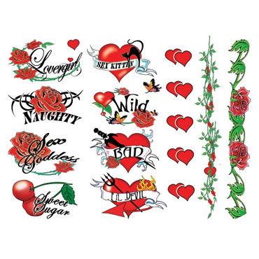 AdultBodyArt Naughty Bachelorette Набор из 40 временных татуировок для девушек