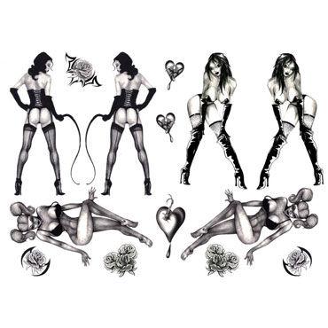 AdultBodyArt Naughty Pin-Up Набор из 35 временных татуировок с изображением девушек