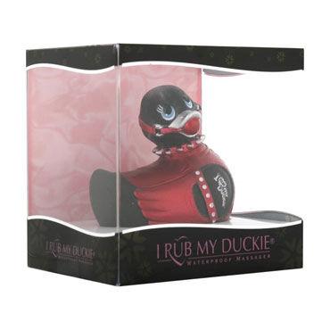Bigteaze Toys I Rub My Duckie, черно-красный Вибратор-утенок в стиле БДСМ, компктного размера