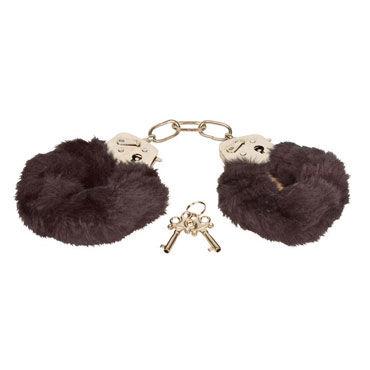 Eroflame Furry Love Cuffs, черные Металлические наручники с мехом