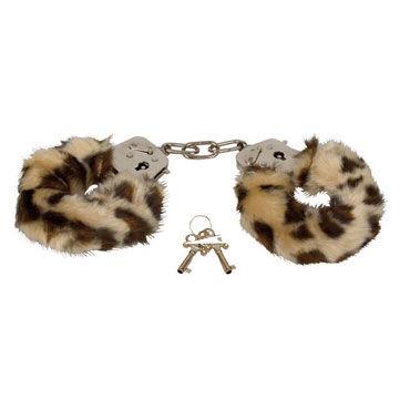 Eroflame Furry Love Cuffs, леопардовые Металлические наручники с мехом