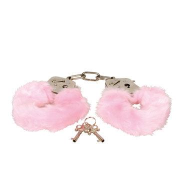Eroflame Furry Love Cuffs, розовые Металлические наручники с мехом