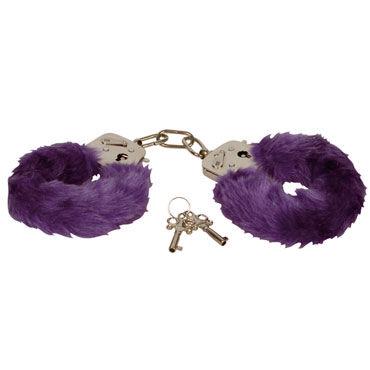 Eroflame Furry Love Cuffs, фиолетовые Металлические наручники с мехом