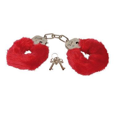 Eroflame Furry Love Cuffs, красные Металлические наручники с мехом