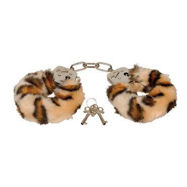 Eroflame Furry Love Cuffs, тигровые Металлические наручники с мехом
