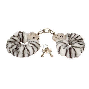 Eroflame Furry Love Cuffs, зебра Металлические наручники с мехом