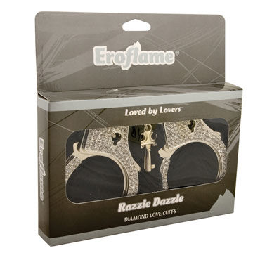 Eroflame Razzle Dazzle Diamond, черные Металлические наручники со стразами
