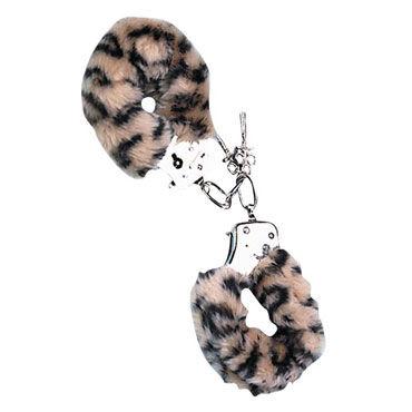 NMC Love Cuffs, леопардовые Металлические наручники с мехом