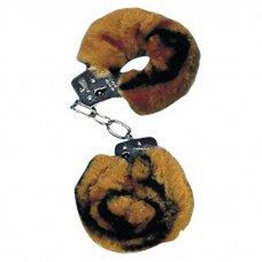 NMC Love Cuffs, тигровые Металлические наручники с мехом