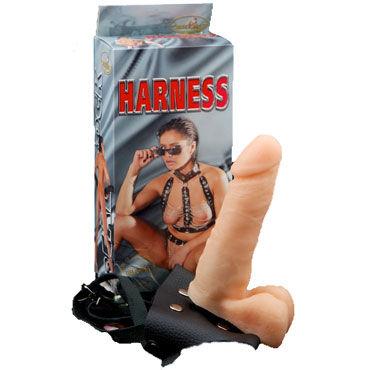 Bioclon Насадка-фаллоимитатор с поясом Harness С мошонкой, в картонной упаковке
