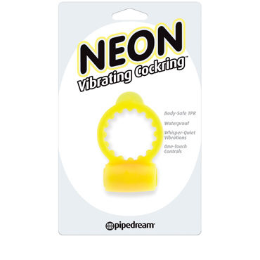 Pipedream Neon Vibrating Cockring, желтое Эрекционное виброкольцо