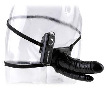 Pipedream Double Penetrator Vibrating Hollow, черный Анально-вагинальный страпон