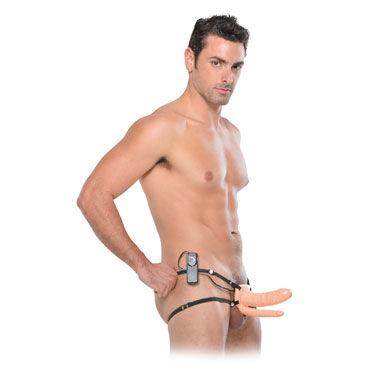 Pipedream Double Penetrator Vibrating Hollow, телесный Анально-вагинальный страпон