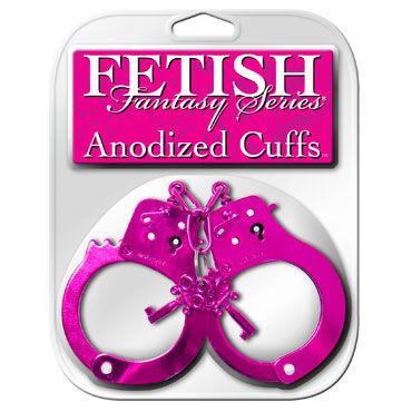 Pipedream Anodized Cuffs, розовые, Металлические наручники