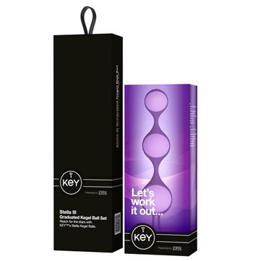 Jopen Key Stella III, фиолетовые Три вагинальных шарика на гибкой сцепке
