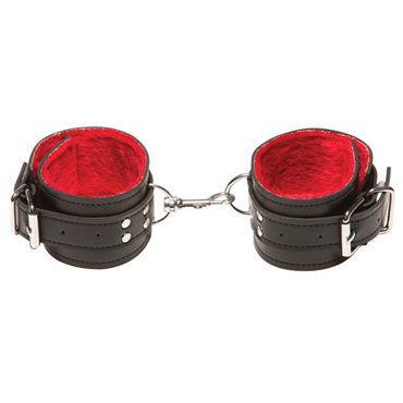 X-play Passion Fur Ancle Cuffs, красные Кожаные поножи
