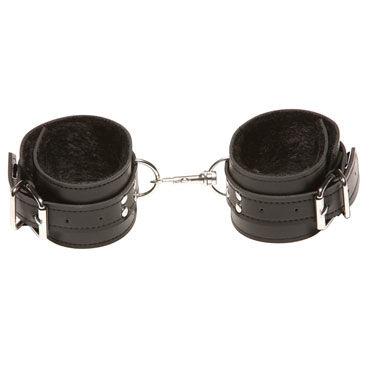 X-play Passion Fur Ancle Cuffs, черные Кожаные поножи