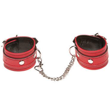 X-play Love Chain Wrist Cuffs, красные Кожаные наручники