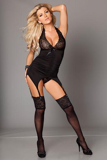 Kiss Me Catchy Cabaret, черный, Топ с подвязками и стринги - Размер L