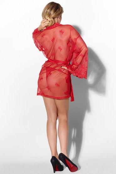 Kiss Me Grace In Lace, красный Игривый сексапильный халатик и трусики-тонг