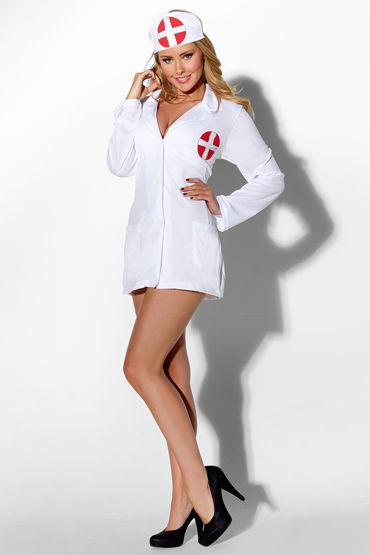 Kiss Me The Nurse, Очаровательный халатик и чепчик - Размер XL