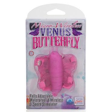 California Exotic Micro-Wireless Venus Butterfly, розовая Вибро-бабочка на ремешках
