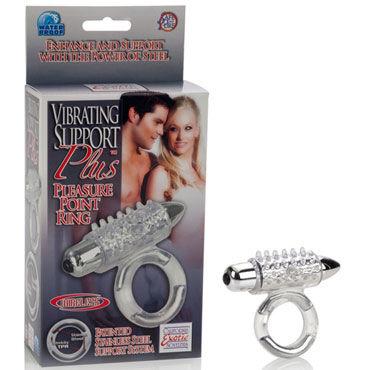 California Exotic Vibrating Support Plus Pleasure Point Ring, Эрекционное виброкольцо со стимуляцией клитора