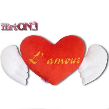 Flirt On Окрыленная Любовь Подушка в виде сердца с крыльями