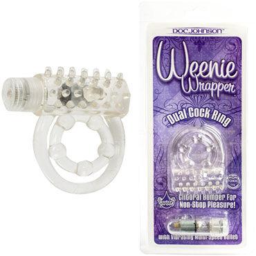 Doc Johnson Weenie Wrapper, прозрачное Виброкольцо с петлей для мошонки