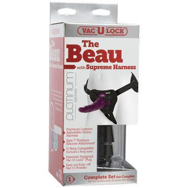 Doc Johnson Beau with Supreme Harness, фиолетовый Страпон с турсиками для крепления