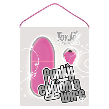 Toy Joy Funky Egg On A Wire, темно-розовое Водонепроницаемое виброяйцо