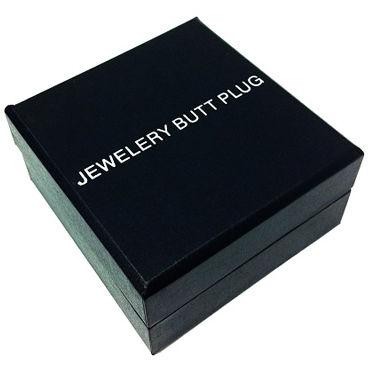 Anal Jewelry Plug Large Silver, зеленый Большая анальная пробка с кристаллом