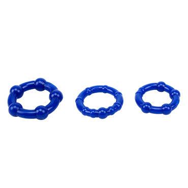 Chisa Beaded Cockrings, синий Набор из трех эрекционных колец