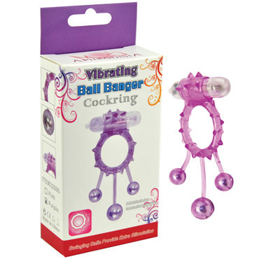 Howells Ball Banger Cock Ring, фиолетовый Виброкольцо с 3 утяжеляющими шариками