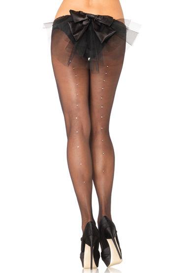 Leg Avenue колготки, белые, Украшены искусственным горным хрусталем - Размер Универсальный (XS-L) от condom-shop.ru