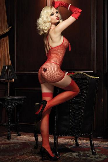 Leg Avenue комплект, красный Мини-платье в сеточку и стринги
