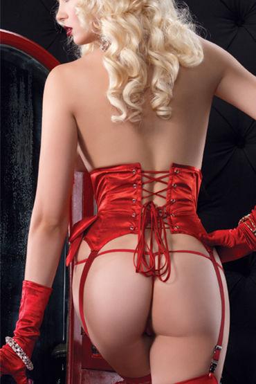 Leg Avenue пояс-корсет, красный С подвязками для чулок