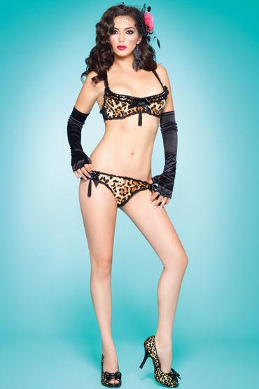 Leg Avenue комплект, Леопардовый лиф и трусики с пайетками - Размер S