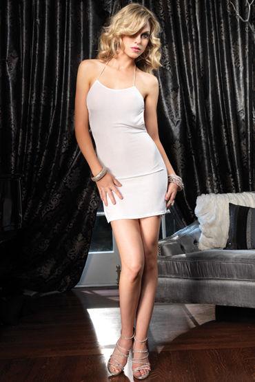 Leg Avenue мини-платье, белое С открытой спиной