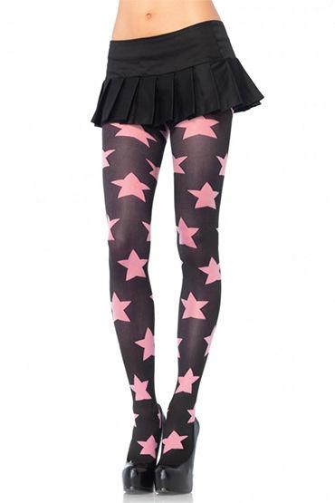Leg Avenue колготки, черно-розовые Колготки с узором ''звездочки''