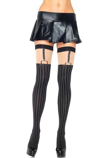Leg Avenue Black Nude, Чулки в тонкую полоску - Размер Универсальный (XS-L) от condom-shop.ru