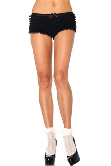 Leg Avenue носочки, белые С игривыми оборочками