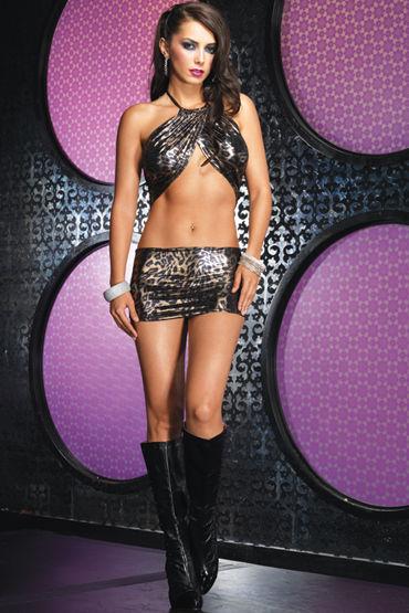 Leg Avenue Leopard Foil Halter Dress Gold Мини-платье с хищным принтом