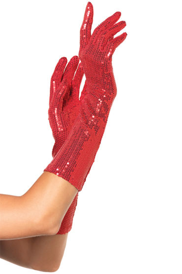 Leg Avenue перчатки, красные Расшитые пайетками